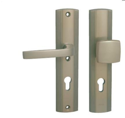 Kování bezpečnostní LINIA PRESTIGE 90 mm, vložka, madlo/klika F9 nerezový elox