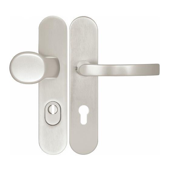 Kování bezpečnostní HARMONIA DEF 72 mm madlo - klika stříbrný elox