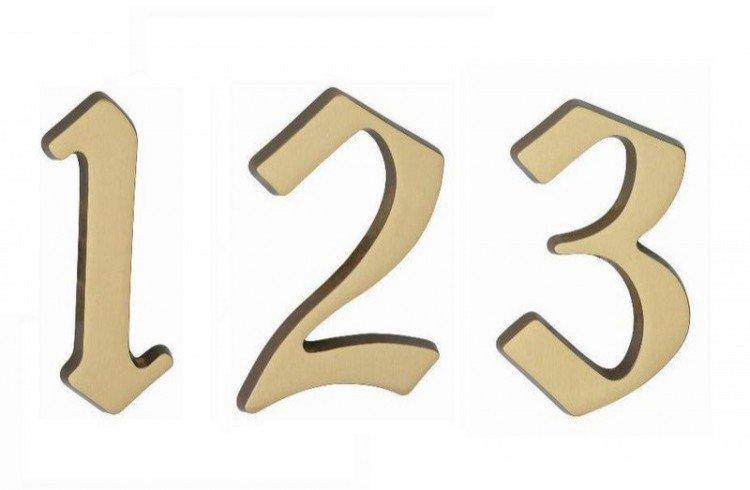 """Číslo domovní """"9"""" 125 mm matná mosaz"""