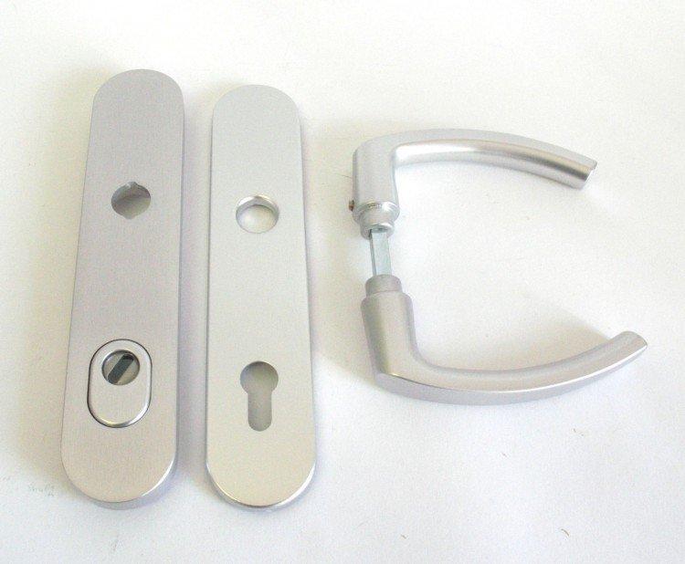 Kování bezpečnostní HARMONIA DEF 92 mm klika - klika stříbrný elox