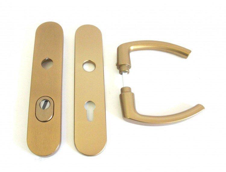 Kování bezpečnostní HARMONIA DEF 92 mm klika - klika elox bronz