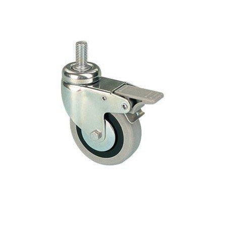 Kolečko otočné s šedou pryžovou obručí se šroubem a brzdou EGA 100/VLDP, 100 x 24 x 32, nosnost 55kg