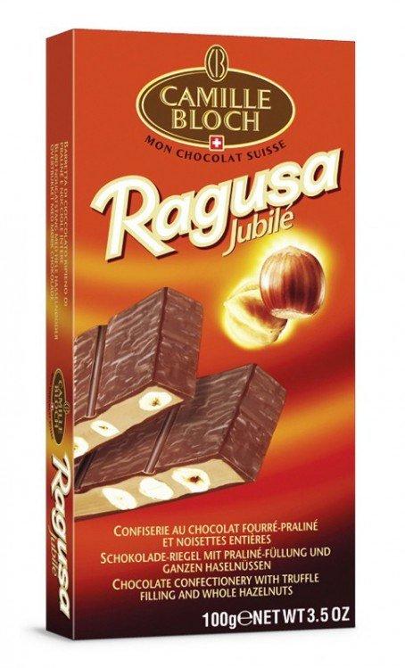 Čokoláda mléčná s pralinkovou náplní a lískovými oříšky 100 g  Ragusa