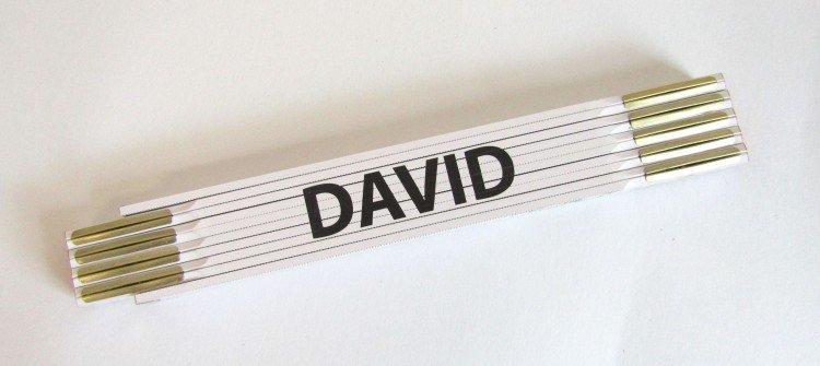 Metr skládací 2 m DAVID              (PROFI, bílý, dřevěný)