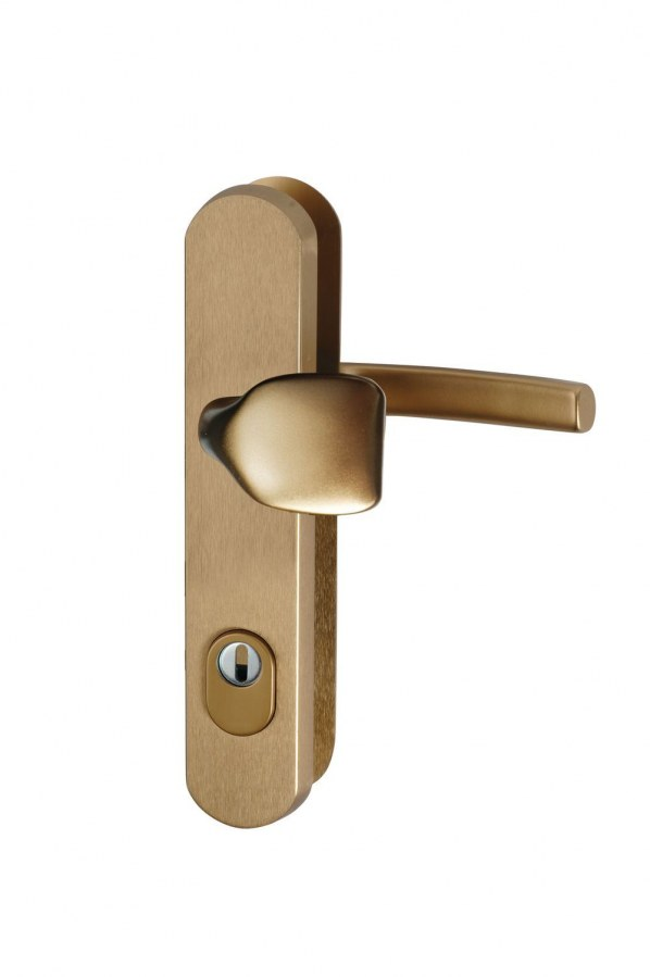 Kování bezpečnostní R.101.ZA.90.F4.TB3, madlo/klika, na vložku, s překrytím, 90 mm, bronzový elox