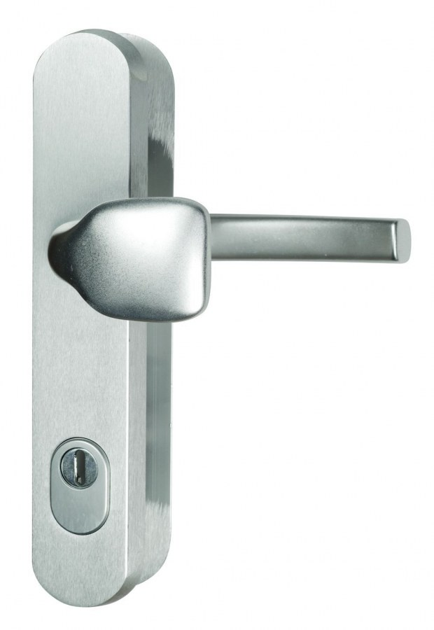 Kování bezpečnostní R.101.ZA.92.F1.TB3, madlo/klika, na vložku, s překrytím, 92 mm, stříbrný elox