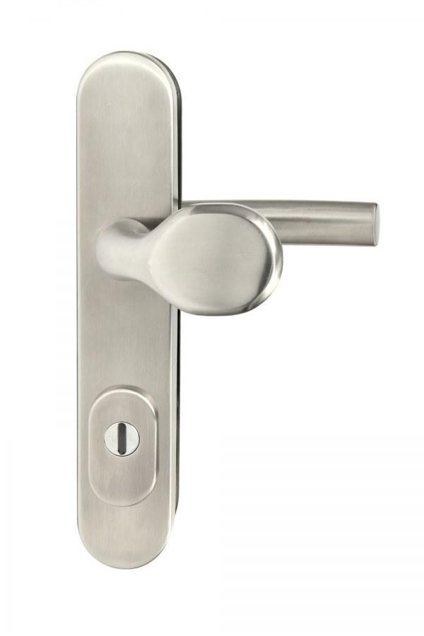 Kování bezpečnostní R.701.ZB.72.N.TB3, madlo/klika, na vložku, s překrytím, 72 mm, nerez
