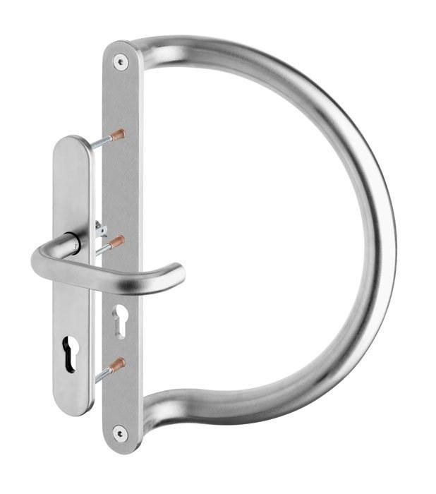 Madlo dveřní trubkové D92 s vnitřním štítem, nerez mat, tloušťka dveří max 80mm