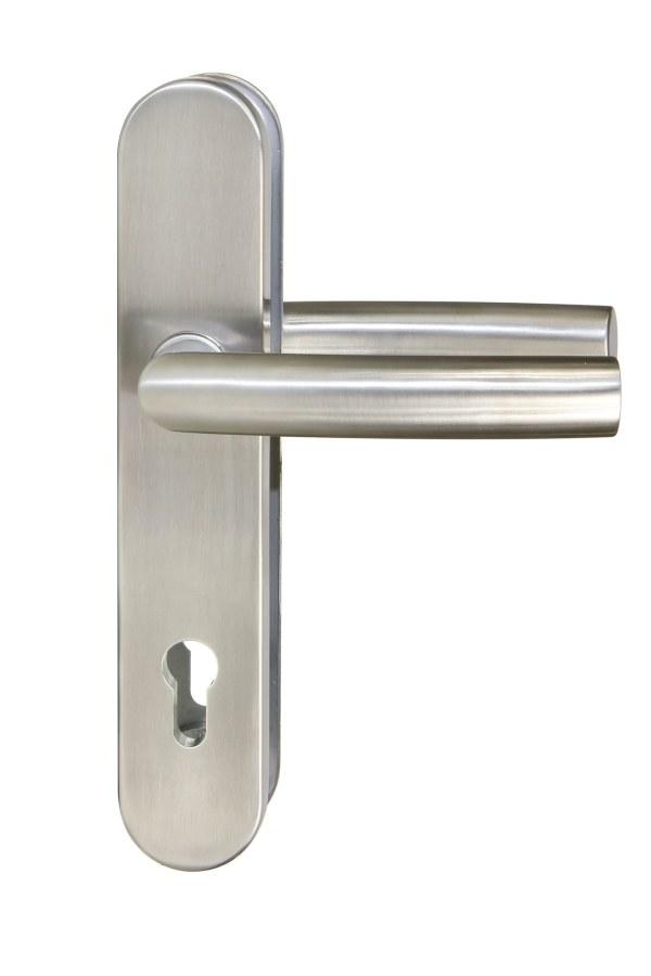 Kování bezpečnostní R.711.PZ.90.N.TB3, klika/klika, na vložku, bez překrytí, 90 mm, nerez