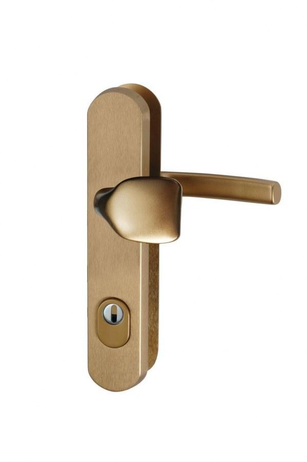 Kování bezpečnostní R.101.ZA.92.F4.TB2, madlo/klika, na vložku, s překrytím, 92mm, bronzový elox