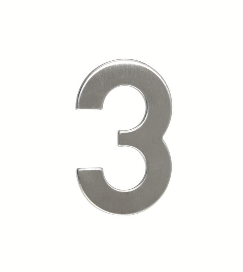 Číslice domovní RN.95L.3.N ploché 2D,  nerez v.95 mm