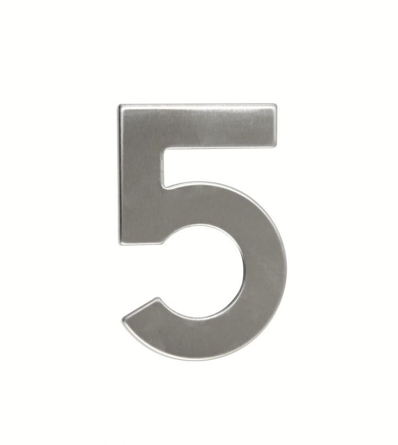 Číslice domovní RN.95L.5.N, ploché 2D, nerez v.95 mm