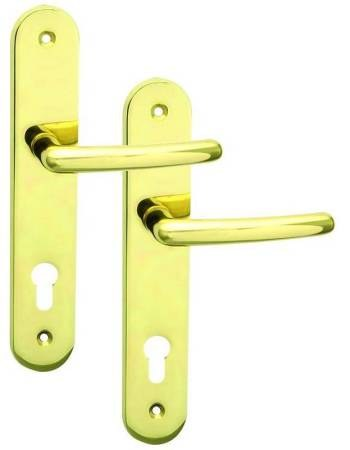Kování bezpečnostní SVEVA 90 mm na vložku pravá mosaz klika - klika  (C 1032290R)