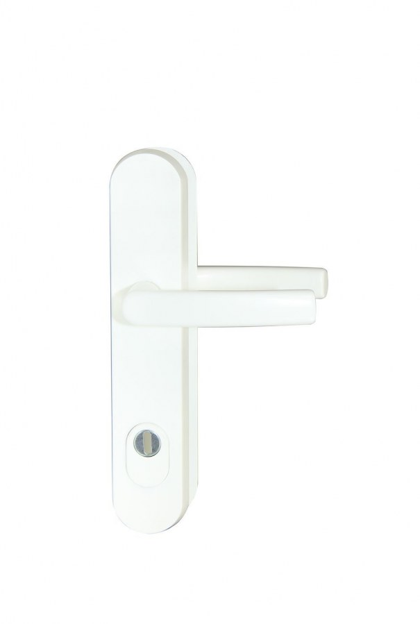Kování bezpečnostní R.111.ZA.92.F9016.TB3, klika/klika, na vložku, s překrytím, 92 mm, bílá