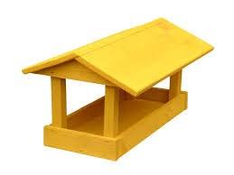 Krmítko dřevěné č.1 13x18x22cm žluté