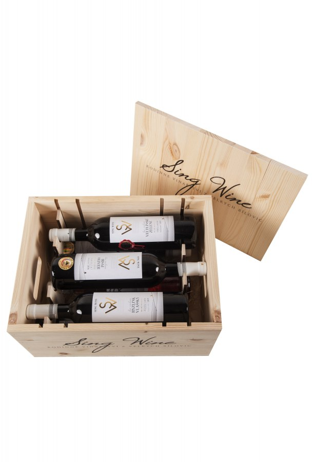 Bedna dřevěná americká SING WINE dárková - plná (6 lahví vína)