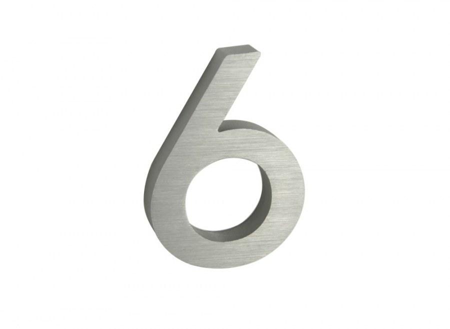 Číslice domovní RN.100LV.6.AL.3D stříbrná matná, v. 100 mm