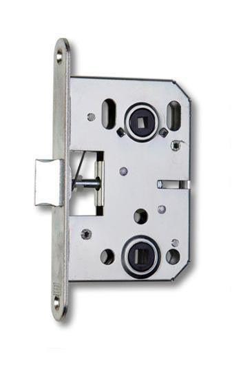 Zámek zadlabací pouze se střelkou K 053, WC zámek, spodní ořech 8 x 8 mm, P-L, 72/75, bílý zinek