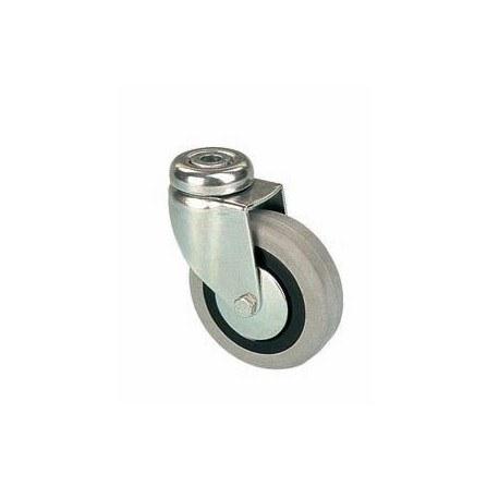 Kolečko otočné s šedou pryžovou obručí s otvorem EGA 080/QLP, 80 x 24 x 25, nosnost 55 kg