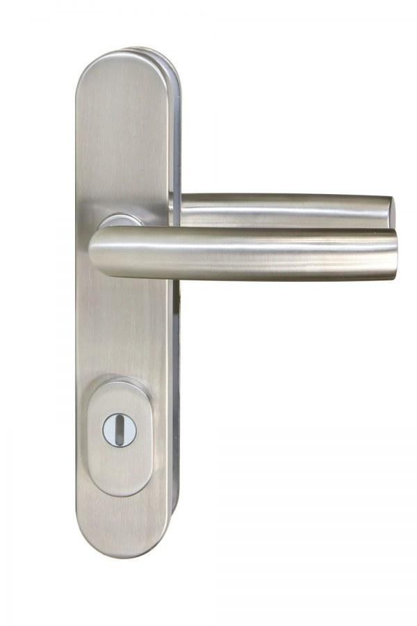 Kování bezpečnostní R.711.ZB.90.N.TB3, klika/klika, na vložku, s překrytím, 90 mm, nerez