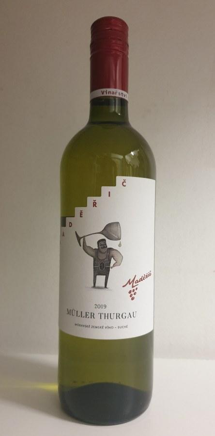 Víno MULLER THURGAU 2019 Moravské zemské suché  0,75 l č. š. 9123 alk. 12 %
