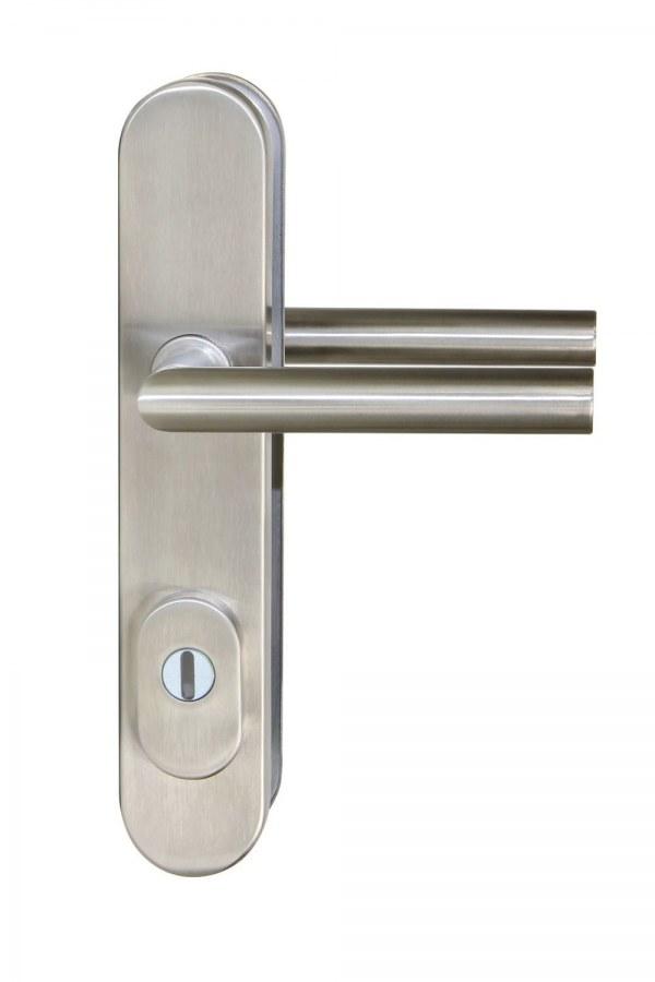 Kování bezpečnostní R.711.ZB.90.ES.N.TB3, klika/klika, na vložku, s překrytím, 90 mm, nerez RJ010200