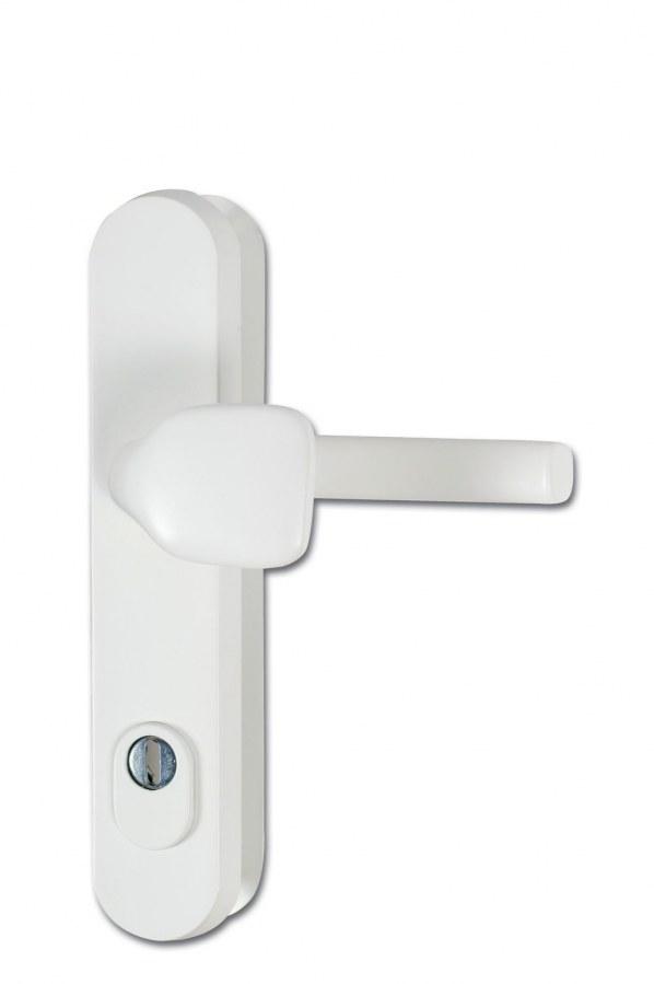 Kování bezpečnostní R.101.ZA.92.F9016.TB3, madlo/klika, na vložku, s překrytím, 92 mm, prášková bílá