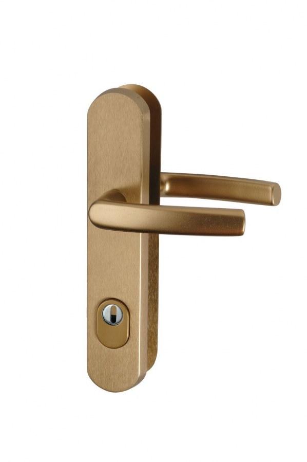 Kování bezpečnostní R.111.ZA.90.F4.TB2, klika/klika, na vložku, s překrytím, 90 mm, bronzový elox