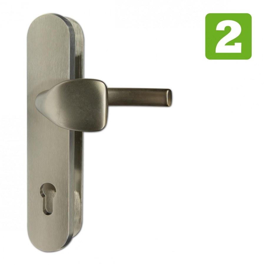 Kování bezpečnostní RC.101.PZ.72.F9.TB2, madlo/klika, na vložku, bez překrytí, 72 mm, imitace nerezu
