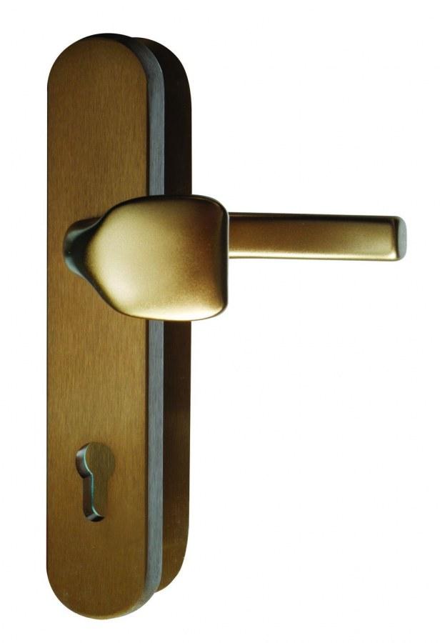 Kování bezpečnostní R.101.PZ.92.F4.TB2, madlo/klika, na vložku, bez překrytí, 92 mm, bronzový elox
