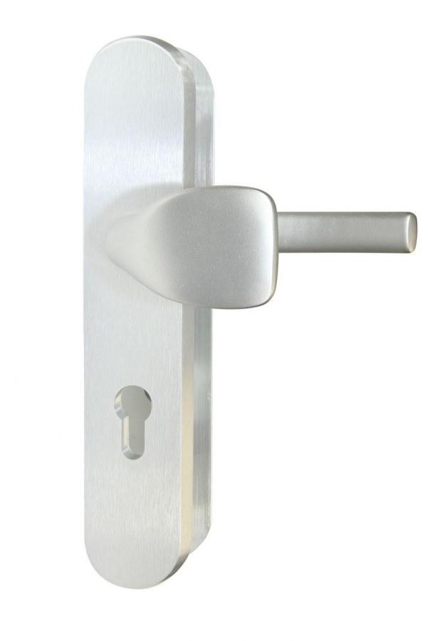 Kování bezpečnostní RC.101.PZ.72.F1.TB2, madlo/klika, na vložku, bez překrytí, 72 mm, stříbrný elox